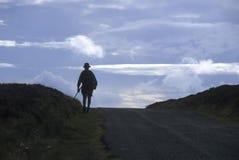 Schattenbild des Mannes wandernd über Hügel Lizenzfreie Stockfotos