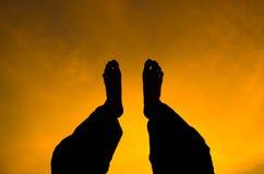 Schattenbild des Mannfußes Stockfotografie