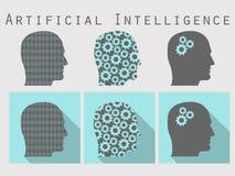 Schattenbild des menschlichen Kopfes Künstliche Intelligenz, Kopf mit Gängen Ikonensatz in einem flachen Design mit langem Schatt Stockbild