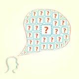 Schattenbild des menschlichen Kopfes mit Fragen-Ikonen Stockfotos