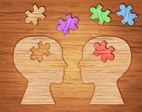 Schattenbild des menschlichen Kopfes, Symbol der psychischen Gesundheit Puzzlespiel Lizenzfreie Stockbilder