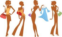 Schattenbild des Modemädchens mit Taschen und Kleid Stockbilder
