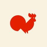 Schattenbild des netten Hahns Vektorlogoschablone oder Ikone des Hahnes Stockfotografie