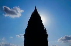 Schattenbild des prambanan Tempels Stockfotografie
