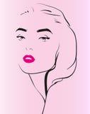 Schattenbild des schönen Mädchen-Gesichtes Lizenzfreie Stockfotos
