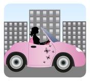 Schattenbild des schönen Mädchenfahrens Stockfotos