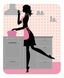 Schattenbild des schönen Mädchenkochens Lizenzfreie Stockfotografie