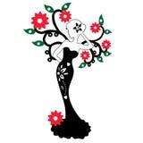 Schattenbild des schönen Mädchens, das nahe dem Blumenbaum, Vektorillustration steht Lizenzfreie Stockbilder
