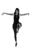 Schattenbild des schönen weiblichen Balletttänzers Stockbild