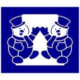 Schattenbild des Schneemannes mit zwei Blau, widergespiegelt in einem Rahmen, Karikatur fra lizenzfreie abbildung