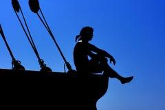 Schattenbild des Seemanns Stockfoto