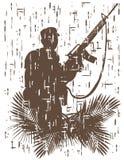 Schattenbild des Soldaten in der Aktion Vektorillustration in Schmutzart 3 lizenzfreie abbildung