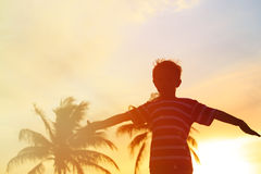 Schattenbild des Spiels des kleinen Jungen am Sonnenuntergangstrand Lizenzfreie Stockfotos