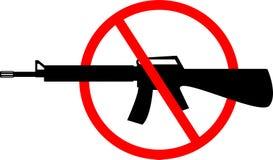 Schattenbild des Sturmgewehrs mit Rotem unterzeichnen vorbei es Auch im corel abgehobenen Betrag vektor abbildung