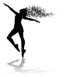 Schattenbild des Tänzers und der musikalischen Anmerkungen Stockfotografie