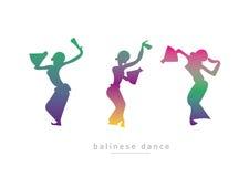 Schattenbild des Tanzens mit drei Mädchen lizenzfreie abbildung