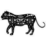Schattenbild des Tigers in den traditionellen eingeborenen Mustern und im ornam Lizenzfreies Stockfoto