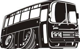 Schattenbild des touristischen Busses der vektorkarikatur lizenzfreie abbildung