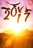 Schattenbild des Vogels Text des guten Rutsch ins Neue Jahr 2016 halten stockfoto