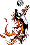 Schattenbild des Volleyballspielers mit Flammen Auch im corel abgehobenen Betrag lizenzfreie abbildung