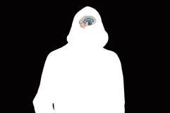 Schattenbild des weißen mit Kapuze Mannes auf Schwarzem mit Modell des menschlichen Gehirns Lizenzfreies Stockbild