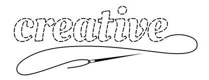 Schattenbild des Wortes kreativ mit unterbrochener Kontur Handgemachte Vektorillustration mit Stickgarn und Nadel lizenzfreie abbildung
