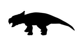 Schattenbild-Dinosaurier. Schwarze Vektor-Illustration. Stockfotografie