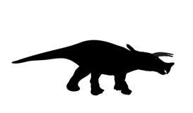 Schattenbild-Dinosaurier. Schwarze Vektor-Illustration. Stockfoto