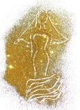 Schattenbild einer Braut in einem langen Kleid und im Schleier des goldenen Funkelns Stockbild