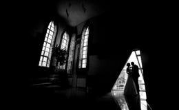 Schattenbild einer Braut und des Bräutigams Stockfoto