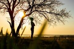 Schattenbild einer Frau auf Natur, Mädchen mit dem Genießen des Sonnenuntergangs auf dem Gebiet Lizenzfreie Stockbilder