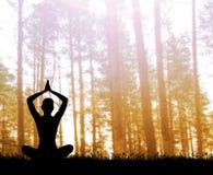 Schattenbild einer Frau, die im Wald meditiert Lizenzfreie Stockfotos