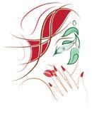 Schattenbild einer Frau mit schönem Make-up Stockbild