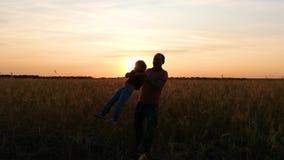 Schattenbild einer glücklichen Familie: ein Vater kreist seinen Sohn auf einem Weizengebiet während des Sonnenuntergangs ein stock video