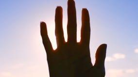 Schattenbild einer Hand in der Sonne stock video