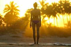 Schattenbild einer jungen Frau, die auf dem Strand bei Sonnenuntergang steht Lizenzfreie Stockbilder