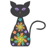 Schattenbild einer Katze mit hellen Blumen für Ihr d Stockbilder