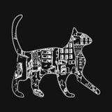 Schattenbild einer Katze mit Nachtstadt und der Sterne auf einem weißen Hintergrund Stockbild