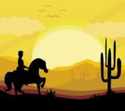 Schattenbild einer Mannfahrt ein Pferd während des Sonnenuntergangs Stockbild