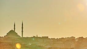 Schattenbild einer Moschee Fatih in den Reflexionen eines Nebels und des Sonnenlichts Abbildung der roten Lilie Stockbild