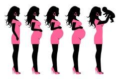 Schattenbild einer schwangeren Frau und der Frau mit Kind Stockbilder
