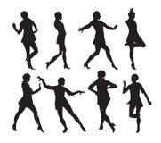 Schattenbild einer Tanzen-Frauen-Vektor-Illustration Stockbilder