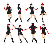 Schattenbild einer Tanzen-Frauen-Vektor-Illustration Lizenzfreie Stockfotos