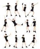 Schattenbild einer Tanzen-Frauen-Vektor-Illustration Stockbild