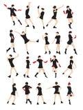 Schattenbild einer Tanzenfrau Lizenzfreie Stockfotografie