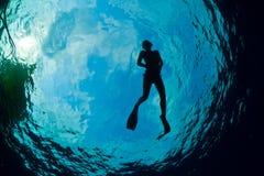 Schattenbild eines attraktiven weiblichen snorkeler Lizenzfreies Stockbild