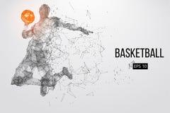 Schattenbild eines Basketball-Spielers Auch im corel abgehobenen Betrag stockfotografie