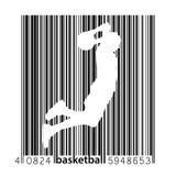 Schattenbild eines Basketball-Spielers und des Barcodes Lizenzfreies Stockbild