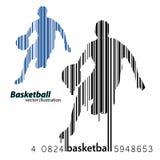 Schattenbild eines Basketball-Spielers und des Barcodes Stockfoto