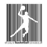 Schattenbild eines Basketball-Spielers und des Barcodes Lizenzfreie Stockbilder